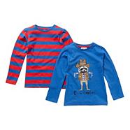 Boy's pack of two striped long sleeved t-shirts