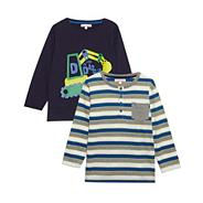 Boy's pack of two long sleeved printed t-shirts