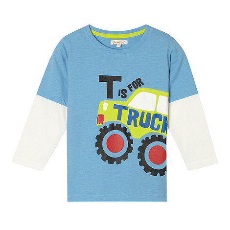 bluezoo - Boy+s blue mock sleeved t-shirt