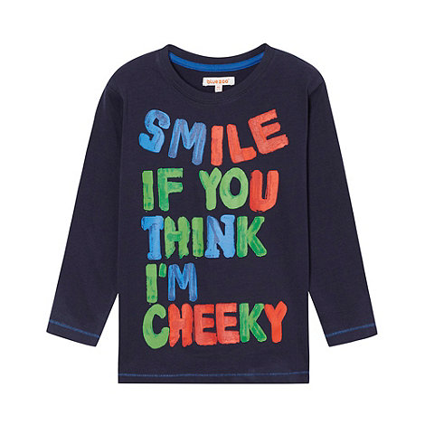 bluezoo - Boy+s navy long sleeved slogan t-shirt