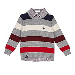 J by Jasper Conran - Boys' multi-coloured striped knitted mock jumper
