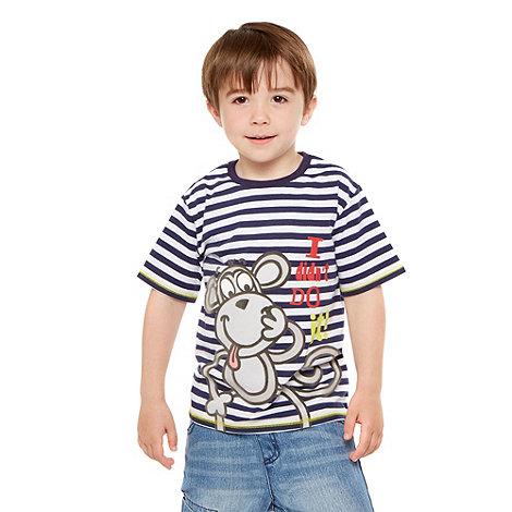 bluezoo - Boy+s navy striped slogan t-shirt