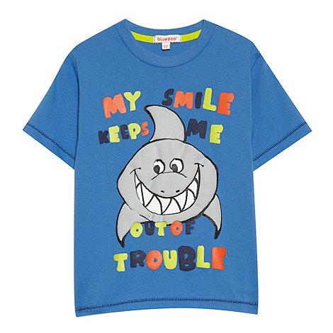 bluezoo - Boy+s blue sharks slogan t-shirt