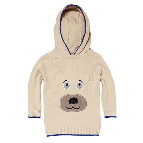 bluezoo - Boy+s beige bear face hooded jumper