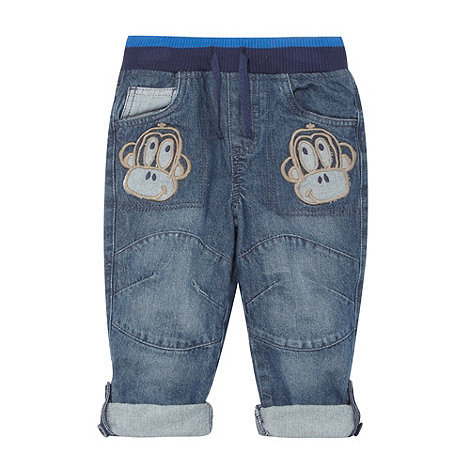 bluezoo - Boy's blue monkey patch jeans