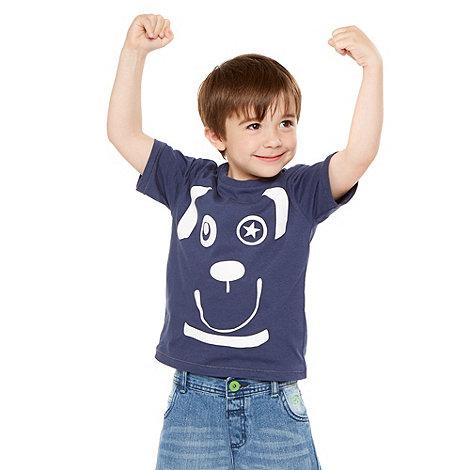 bluezoo - Boy+s navy dog printed t-shirt