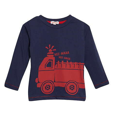 bluezoo - Boy+s navy fire engine print top