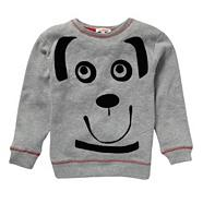 Boy's grey dog face sweater