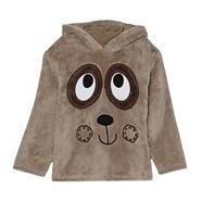 Boy's brown bear face fleece