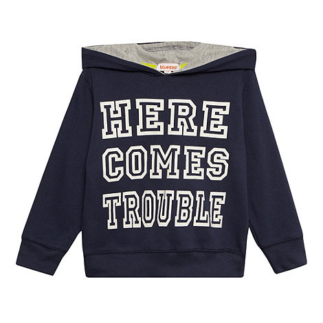 bluezoo - Boy's navy 'Here Comes Trouble' hoodie