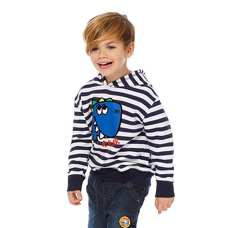 bluezoo - Boy+s navy striped dino sweat hoodie