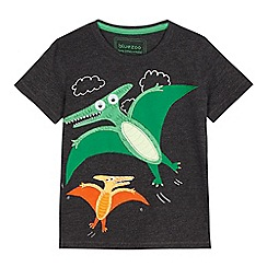 bluezoo - Boys' dark grey dinosaur applique t-shirt