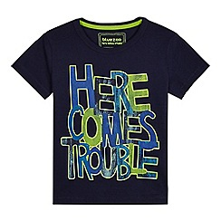 bluezoo - Boys' navy 'Here comes trouble' T-shirt