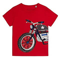 bluezoo - Boys' red motorbike applique t-shirt
