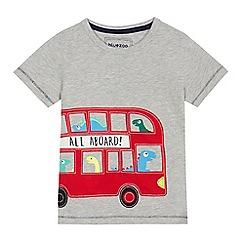 bluezoo - Boys' grey monster bus applique t-shirt