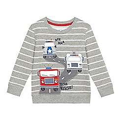 bluezoo - Boys' grey striped vehicle applique sweat
