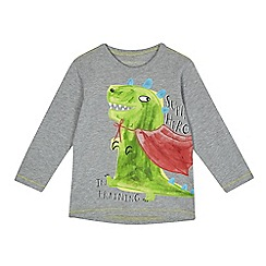bluezoo - Boys' grey dinosaur super hero print top