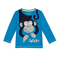 bluezoo - Boys' blue monkey applique long sleeve top