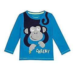 bluezoo - Boys' blue monkey applique long sleeve top