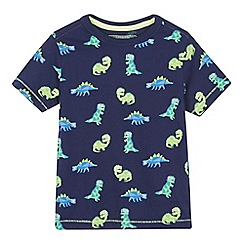 bluezoo - Boys' navy dinosaur print t-shirt