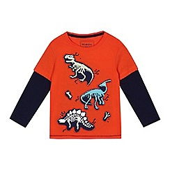 bluezoo - Boys' orange glow in the dark dinosaur skeleton print top