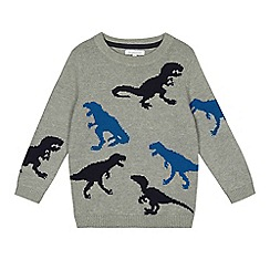 bluezoo - Boys' grey dinosaur knitted jumper