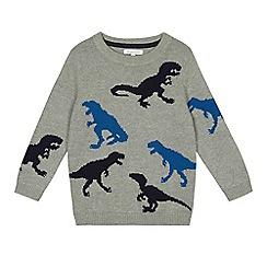 bluezoo - Boys' grey dinosaur knitted jumper