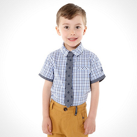 J by Jasper Conran - Boy+s blue short sleeved shirt and tie set