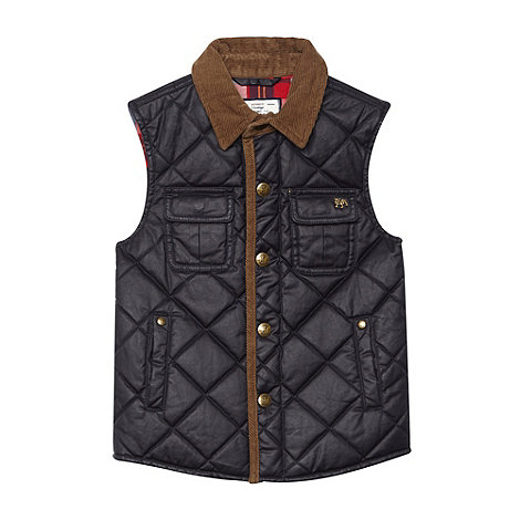 J by Jasper Conran - Boy+s navy waxed quilted jacket