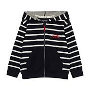 Boy's navy striped zip through sweat top