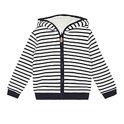 J by Jasper Conran - Boys' white and navy striped zip through sweater