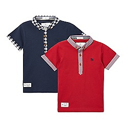 J by Jasper Conran - Pack of two boys' red and navy gingham trim polo shirts
