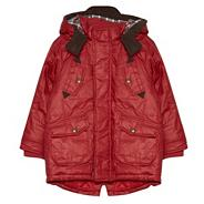 Designer boy's red waxed coat