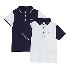 bluezoo - Pack of two boys' navy and white polo shirts