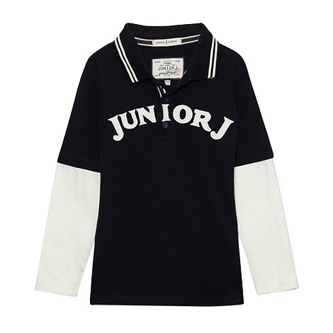 J by Jasper Conran - Designer boy+s navy mock sleeve polo shirt