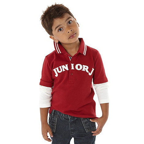 J by Jasper Conran - Designer boy+s red mock sleeve polo shirt