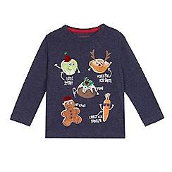 bluezoo - Boys' navy Christmas themed print top