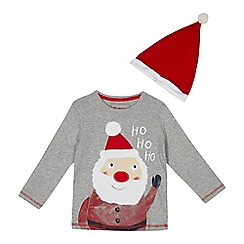 bluezoo - Boys' grey Santa hat t-shirt