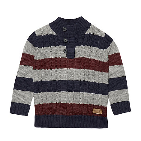 J by Jasper Conran - Designer boy+s navy striped cable knit jumper