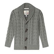 Boy's grey plated cable cardigan