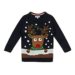bluezoo - Boys' navy Rudolph Christmas jumper