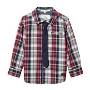Boy's multi checked shirt and tie set