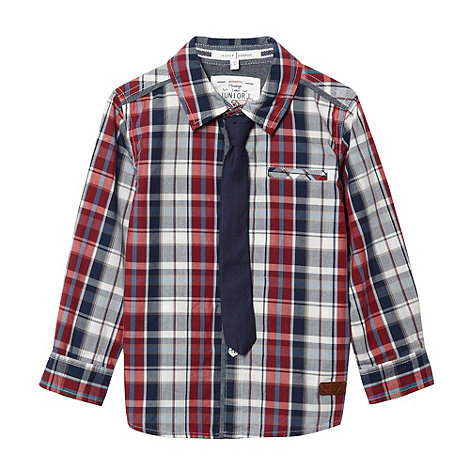 J by Jasper Conran - Boy+s multi checked shirt and tie set