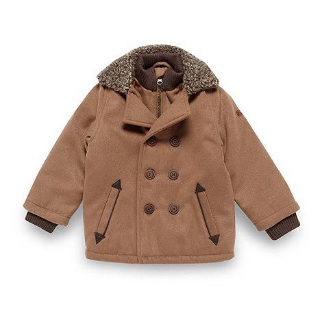 J by Jasper Conran - Designer boy+s tan fleece trimmed coat