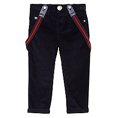 J by Jasper Conran - Boys' navy slim fit cord trousers with braces