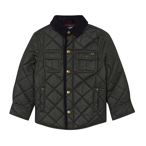 J by Jasper Conran - Boy+s green waxed quilted jacket