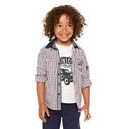 Designer boy's brown shirt and t-shirt set