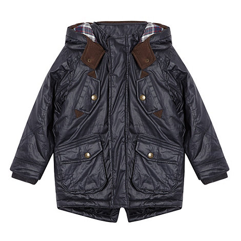 J by Jasper Conran - Boy's navy waxed hooded coat