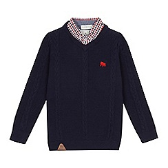 J by Jasper Conran - Boys' navy cable knit mock jumper