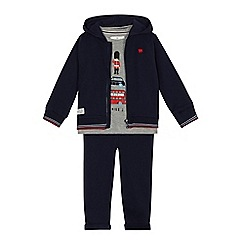 J by Jasper Conran - Boys' navy London guard print sweater, top and jogging bottoms set